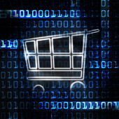 Online shopping cart and binary code — Stock Photo