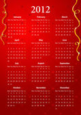 Vector red calendar 2012 — Stock Vector
