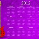 Vector European calendar 2012 with bass guitar — Stock Vector #7137714