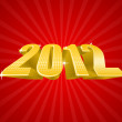 Vector illustration of golden 2012 year — Stockvectorbeeld