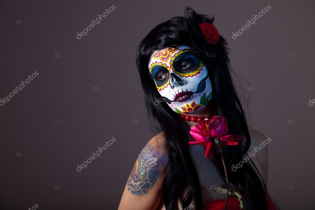 Sugar skull girl with red rose, professional body-art — Photo #7605745