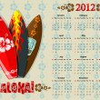 Royalty-Free Stock Vector Image: Vector Aloha calendar 2012 with surf boards