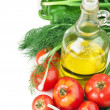 Stock Photo: Vegetables and bottle of oil, still life