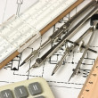 Engineering tools on technical drawing - 图库照片