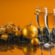 Royalty-Free Stock Photo: Two glasses of wine and Christmas decoration