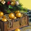 Stock Photo: Christmas decoration in chest