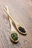Spices in wooden spoons — 图库照片