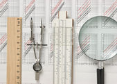 Engineering tools on technical drawing — Stock Photo