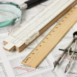 Engineering tools on technical drawing — Stock Photo #6990824