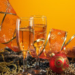 Стоковое фото: Two glasses of wine and Christmas decoration