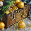 Christmas decoration in chest - ストック写真