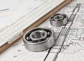 Technical drawing with bearing — Stock Photo
