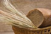 Roggebrood en oren van maïs in mand — Stockfoto