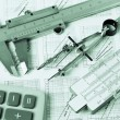 Engineering tools on technical drawing — Foto de Stock