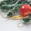 Christmas ball on Christmas background — Stockfoto