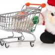 Santa Claus and shopping cart isolated — Stockfoto
