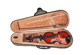 Скрипка в его случае, изолированные на белом фоне — Стоковое фото