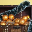 Christmas decoration in chest — Stock Photo