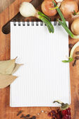 Notebook for cooking recipes and spices — Stock Photo