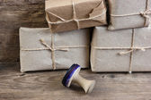 Stack parcel in warehouse and stamp — Stock Photo