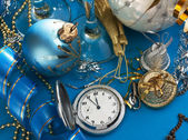 Christmas decoration and Pocket Watches — Stock Photo