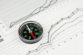 Compass and working paper — Stock Photo