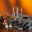 Stok fotoğraf: Glasses of wine and Christmas decoration