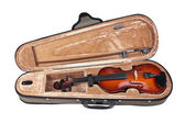 Violin in its case isolated on white — Stock Photo