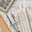Engineering tools on technical drawing — Stock Photo #7954816