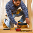 Royalty-Free Stock Photo: Single man work in the wooden room