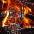 Wood burning in the fire background — Stock Photo