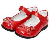 Kobiece czerwone buty na białym tle — Zdjęcie stockowe