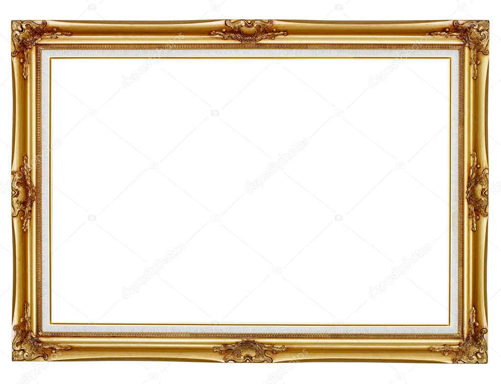 Old gilded frame for painting isolated on white background — Stock Photo #7583834