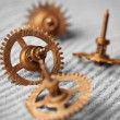 Watch gears on sand - abstract still life — Stock Photo
