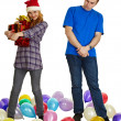 Not to all give gifts for new year and Christmas — Stock Photo