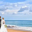 Bride and groom on the beach - Stok fotoğraf