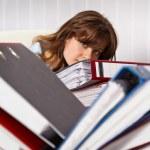 Woman secretary are overworked — Stock Photo