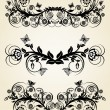 Vector illustration of a set of vintage black floral borders — Stock Vector