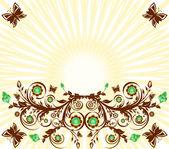 ベクトル太陽と花飾り背景のイラストと — ストックベクタ