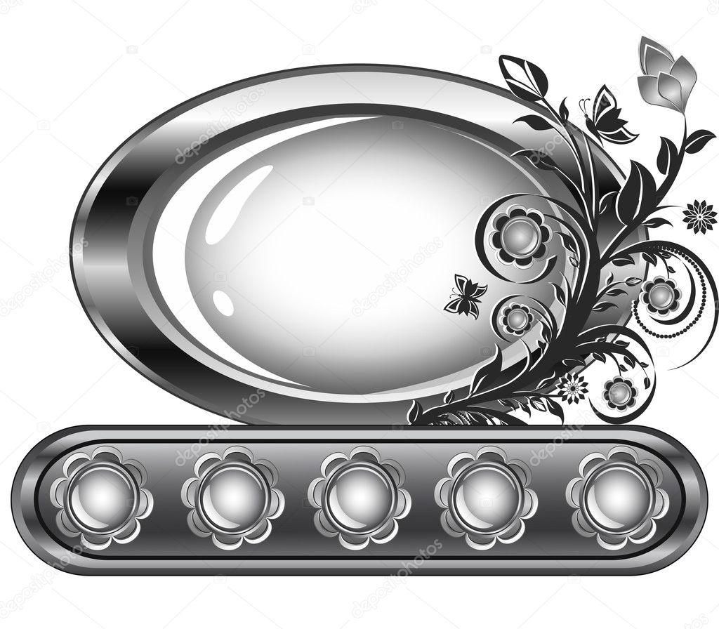 Vector illustration of an oval frame with flower ornament isolated on white background. — Stock Vector #6944091
