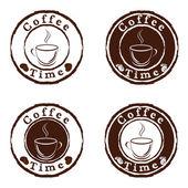 Hora del café sellos conjunto de vectores — Vector de stock