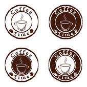 Tempo de café selos conjunto de vetores — Vetorial Stock