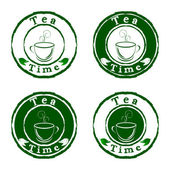 Vector tea time stamps set isolated on white background — Stock Vector