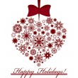 Vector illustration of a Christmas heart made with snowflakes is - Imagen vectorial
