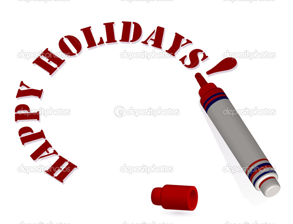 3d marker draws a Happy holidays text isolated on white background. vector illustration — Stock Vector #7905248