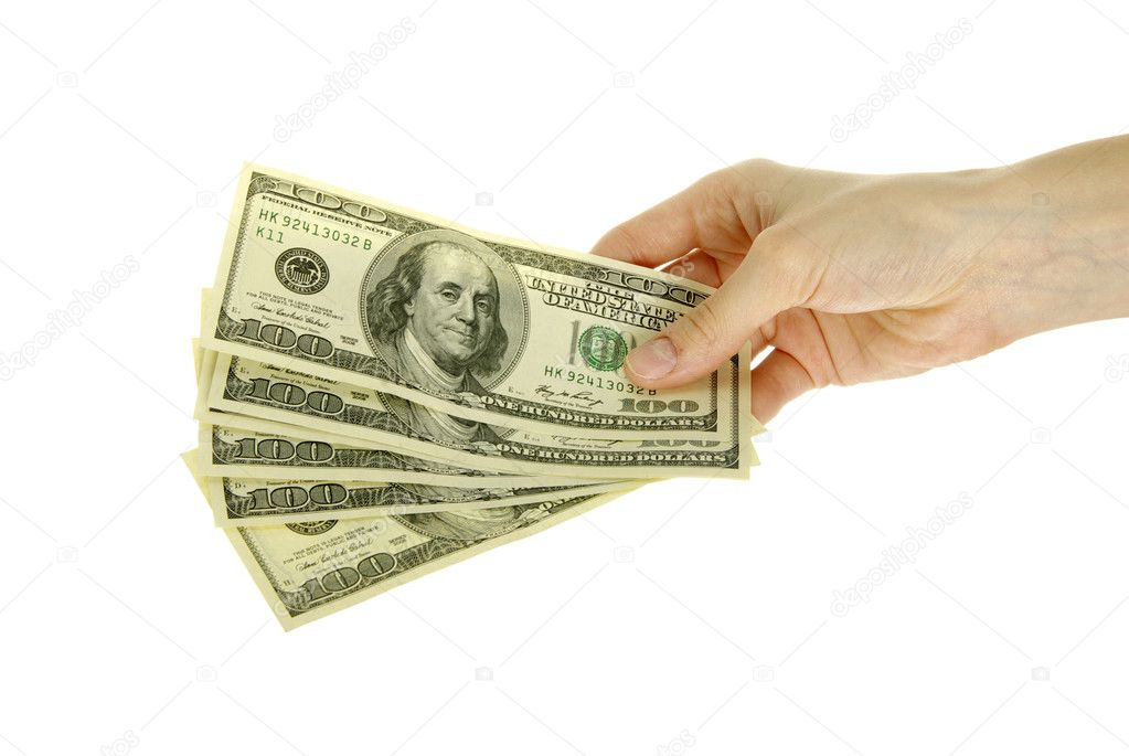 Hand with money isolated on white background  Stock Photo #6837247