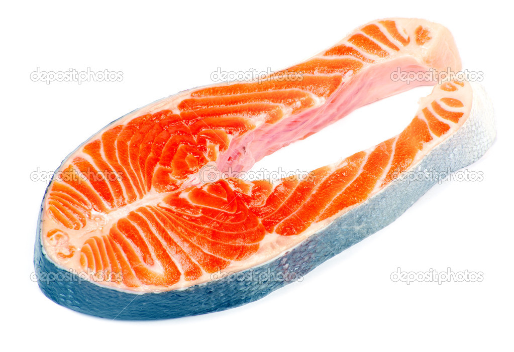 Raw salmon fillet isolated on white — Stock Photo #7060419
