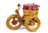Bicycle vase with flowers — Stok fotoğraf