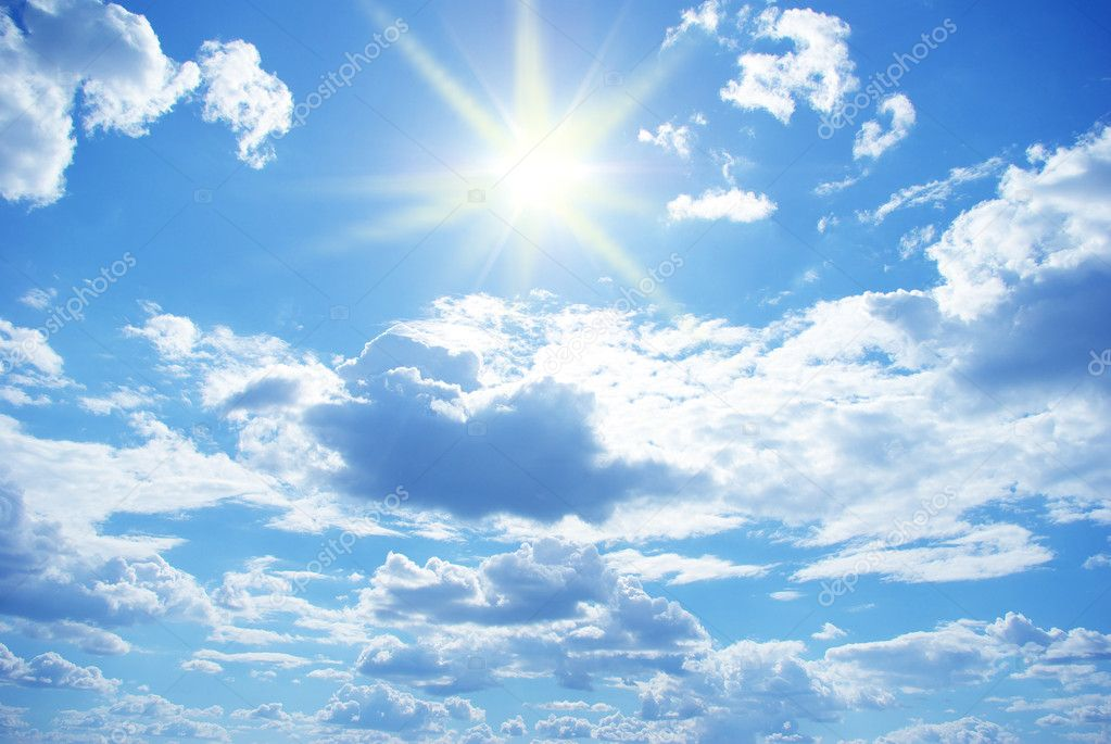 Sun in a blue cloudy sky — Stock Photo #7420933