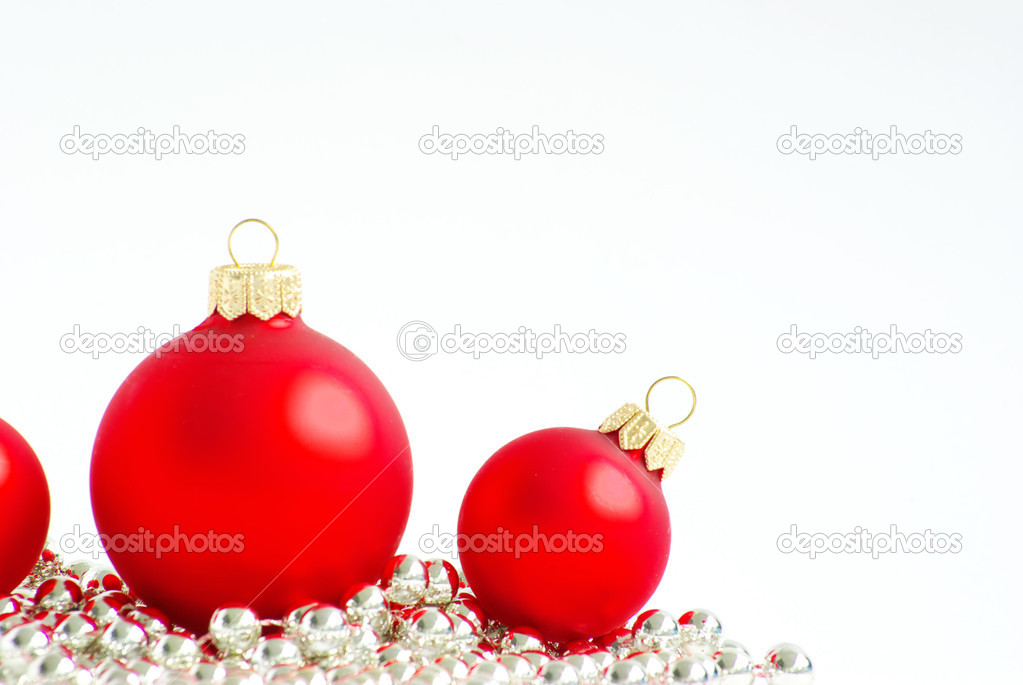 Red christmas balls  isolated on a white — Stock Photo #7466015